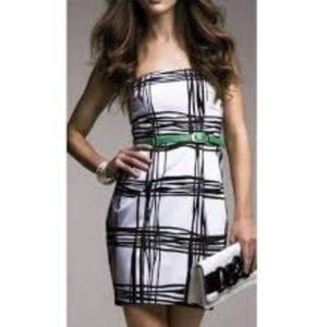 Express Black & White 'Plaid' Strappless Dress